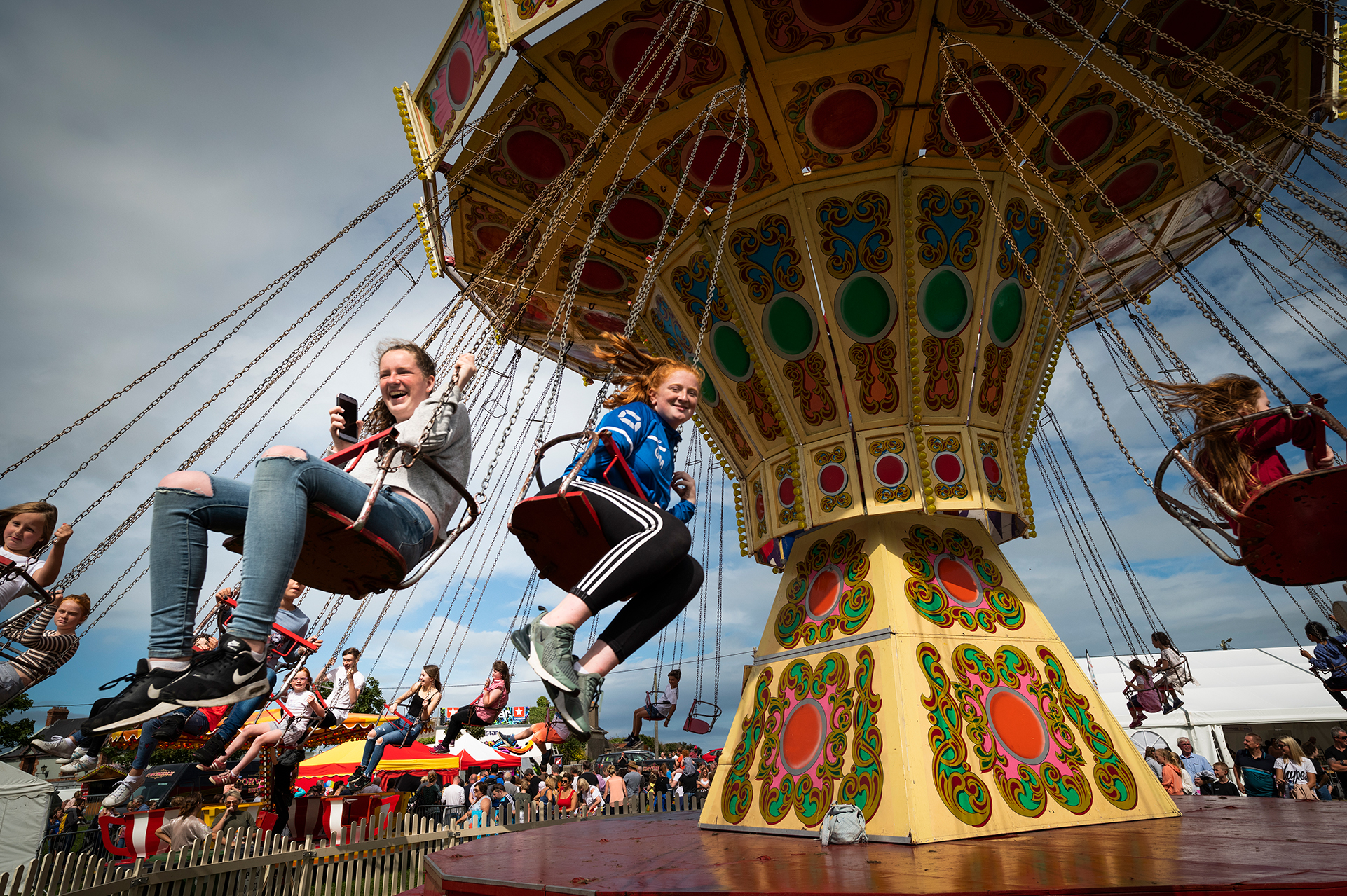 merry go round in action at a theme park in ireland